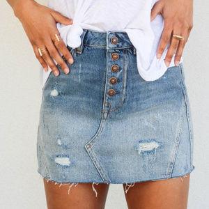 Free People A Line Distressed Mini Skirt | 29